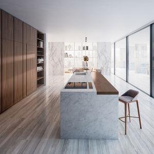 cozinha contemporânea / com folheado de madeira / em carvalho / em nogueira