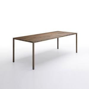 mesa contemporânea / em carvalho natural / em aço / em latão