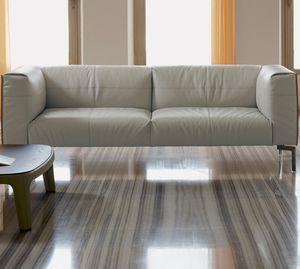 sofá contemporâneo / em couro / em madeira / em aço