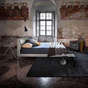 cama de casal / contemporânea / estofada / com cabeceira