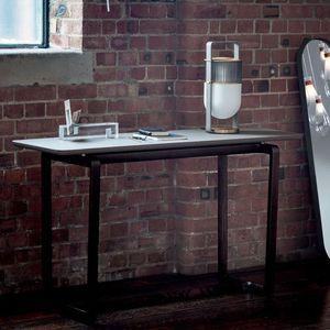 mesa contemporânea / em madeira / em mármore / com base em madeira