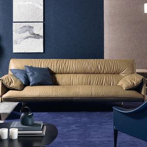 sofá contemporâneo / em couro / em madeira / em poliéster