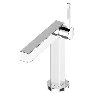misturador monocomando para lavatório / em metal cromado / 1 orifício / para hotel