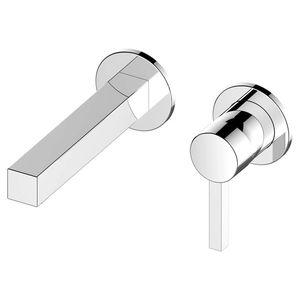 misturador monocomando para lavatório / de parede / em metal cromado / 2 furos