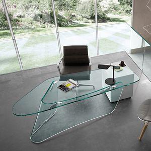 mesa executiva / em vidro / contemporânea / para teletrabalho