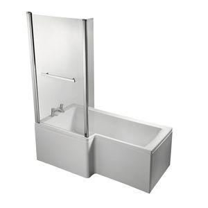 banheira com chuveiro de piso / retangular / em compósito
