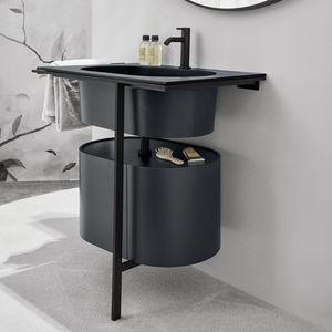 gabinete de banheiro de piso / em madeira lacada / em cerâmica / metálico