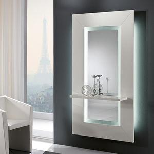 espelho de parede / com prateleiras / com iluminação / contemporâneo