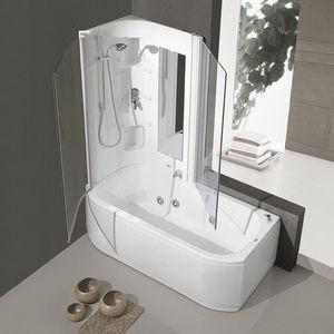 banheira com chuveiro de piso / retangular / em acrílico