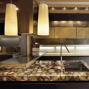 tampo de bancada em Solid Surface / em madeira fossilizada / em pedra semipreciosa / para cozinha