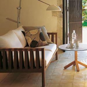sofá contemporâneo / de jardim / em tecido / em teca