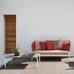 sofá contemporâneo / para ambiente externo / em tecido / em aço inoxidável