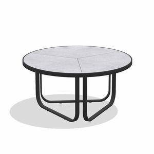 mesa de centro contemporânea / em arenito / em grés esmaltado / com base em alumínio laqueada