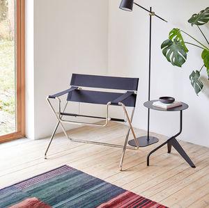 mesa lateral contemporânea / em aço / com base em aço / redonda