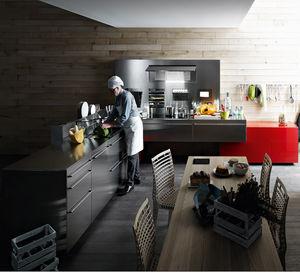 cozinha contemporânea / em aço inoxidável / em L / com pegas