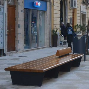 banco para espaço público / contemporâneo / em madeira maciça / em aço