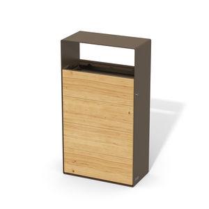lixeira em aço / em madeira / da linha comercial / contemporânea