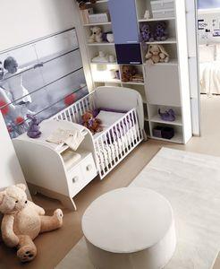 quarto infantil branco / em madeira / de bebê