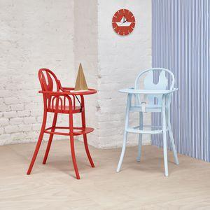 cadeira de refeição dobrável / em faia / azul / verde