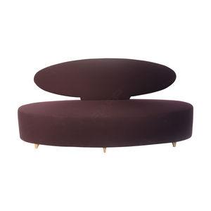 sofá curvo / clássico / em couro / da linha comercial