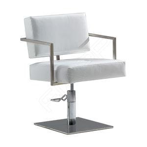 poltrona de cabeleireiro em poliuretano / com bomba hidráulica / com base central / branca