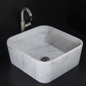 cuba de apoio / quadrada / em mármore / de design minimalista