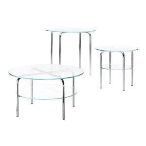 mesa lateral contemporânea / em vidro / com pés em metal cromado / redonda