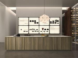 cozinha contemporânea / em madeira / em pedra natural / em quartzo