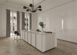 cozinha contemporânea / em aço inoxidável / com folheado de madeira / escondida