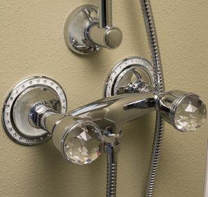 misturador bicomando para box de banheiro / de parede / metálico / em cristal Swarovski®