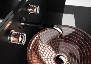 misturador bicomando para lavatório / de parede / em cristal / para banheiro