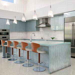 tampo de bancada em vidro / para cozinha / resistente ao calor / antimanchas