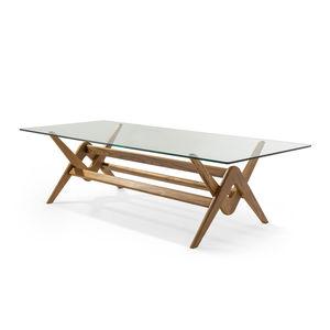 mesa contemporânea / em carvalho / em vidro / com base em madeira maciça