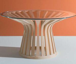 mesa contemporânea / em vidro / com base em madeira maciça / com base em madeira de freixo