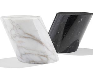 mesa lateral contemporânea / em mármore / com base em mármore / oval