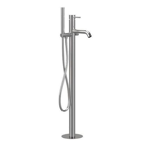 misturador monocomando para banheira / de piso / em aço inox / 1 orifício