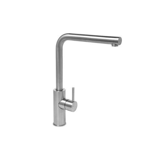misturador monocomando em aço inox / para cozinha / 1 orifício / com bica giratória