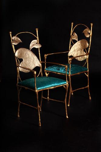 cadeira de sala de jantar design original / em alumínio / dourada