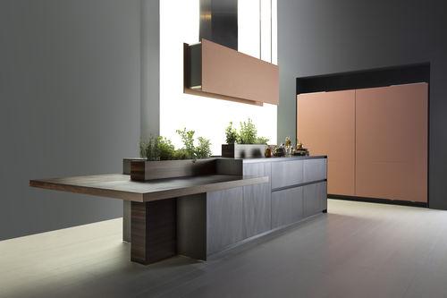 cozinha contemporânea / em alumínio / em madeira / com ilha