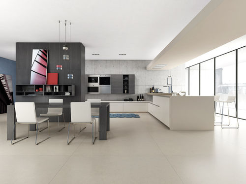 cozinha contemporânea / em madeira / lacada / fosca