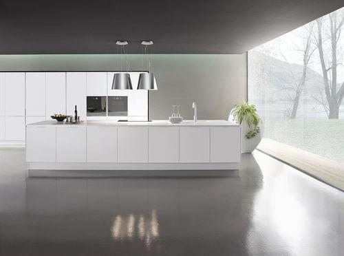 cozinha contemporânea / em vidro / em laminado / com ilha