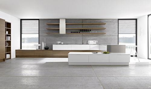 cozinha contemporânea / com folheado de madeira / lacada / com puxadores embutidos