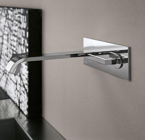 misturador monocomando de parede / em metal cromado / para cozinha / 2 furos