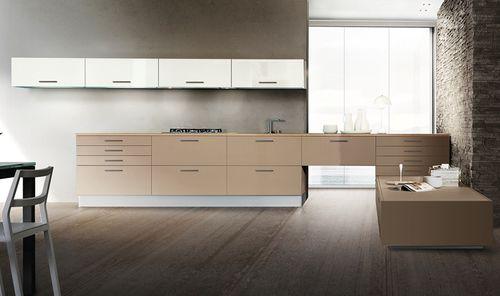 cozinha contemporânea / em madeira / lacada / com pegas