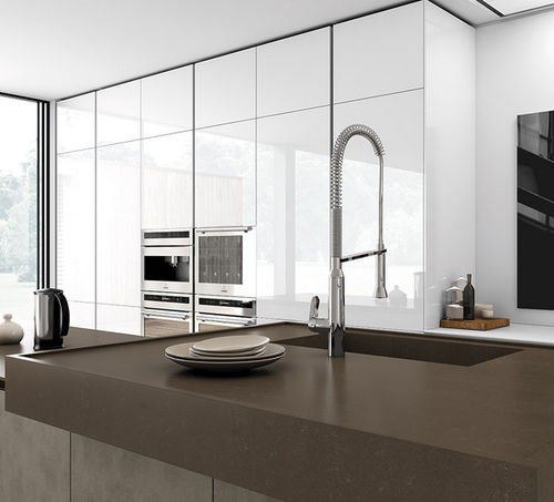 misturador monocomando em metal cromado / para cozinha / 1 orifício