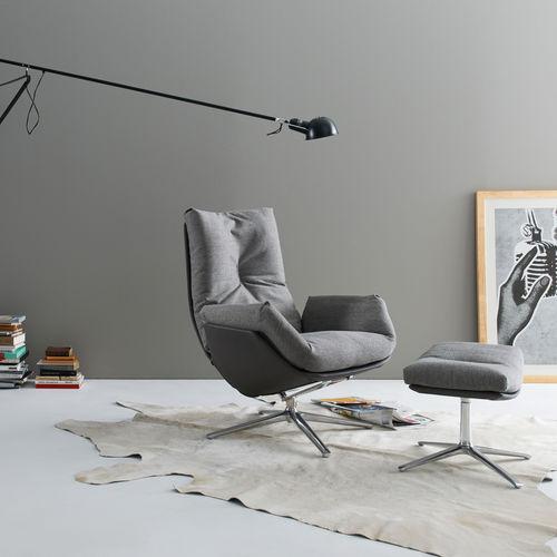 poltrona contemporânea / em tecido / em couro / em metal lacado