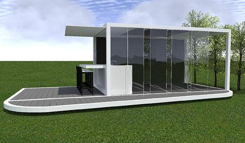 cozinha contemporânea / em vidro / para ambiente externo / sem puxadores