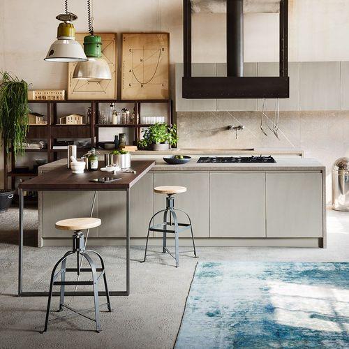 cozinha contemporânea / em madeira / em mármore / com ilha