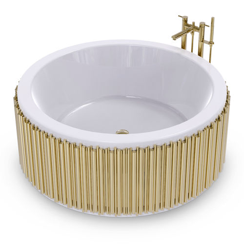 banheira freestanding / redonda / em fibra de vidro / em latão