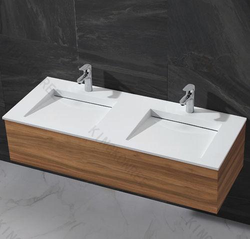 gabinete de banheiro duplo / suspenso / em aglomerado mineral / em acrílico